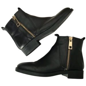 Zara Black Leather Chelsea Boots With Gold Zipper